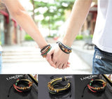 3 x Genuine Leather Bracelet Jewelry with Multilayer Colourful Rope for Men & Women