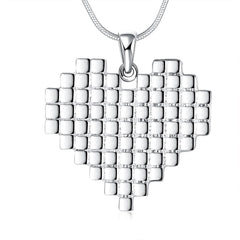 925 Sterling silver filled Chunky multi layer texture heart pendant with FREE chain included