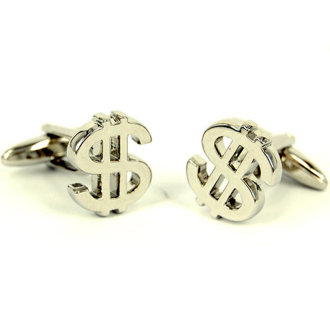 Dollar Sign Rhodium Cufflinks Set