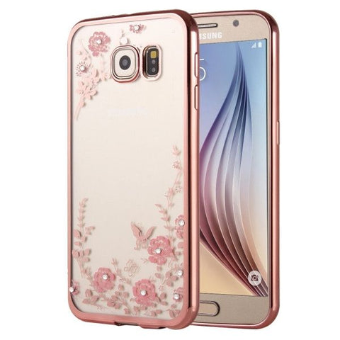 For Samsung Galaxy S6 Edge / G925 Flowers Patterns Electroplating Soft TPU Protective Cover Case