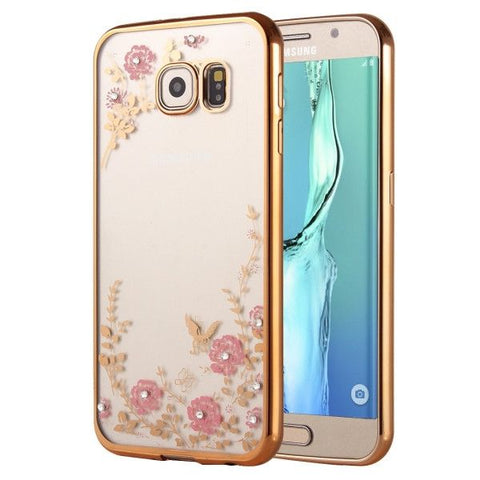 Flowers Patterns Electroplating Soft TPU Protective Cover Case for Samsung Galaxy S6 Edge+ / G928