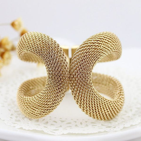 Gold Color Spring Cuff Bracelet and Bangle