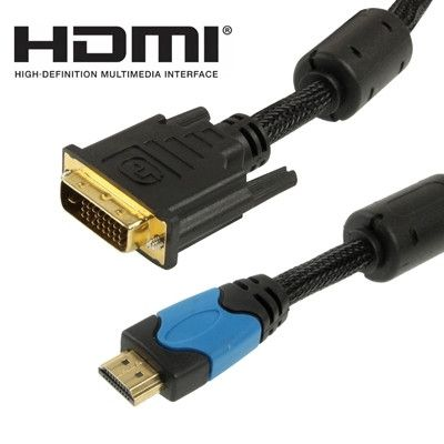 3M HDMI 19Pin Male to DVI 24+1 Pin Male Cable, 1.3 Version (Gold Plated)