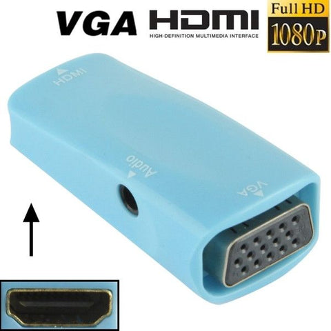 Full HD 1080P HDMI Female to VGA and Audio Adapter for HDTV / Monitor / Projector(Blue)