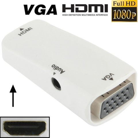 Full HD 1080P HDMI Female to VGA and Audio Adapter for HDTV / Monitor / Projector(White)