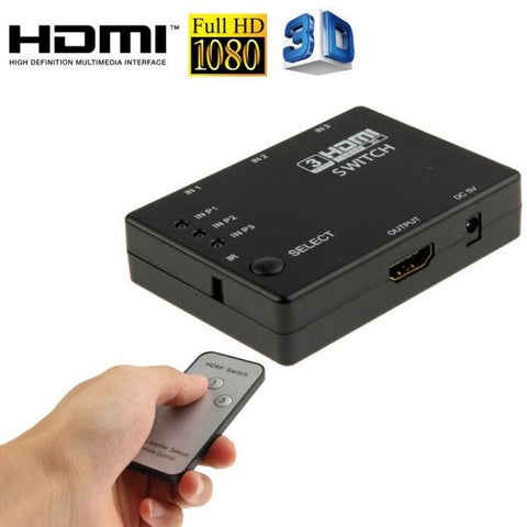 Full HD 1080P 3D HDMI 3x1 Switch with IR Remote Control