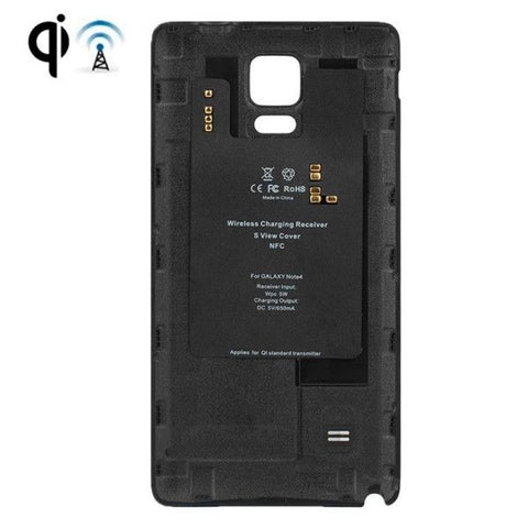 Wireless Charger Receiver with Leather Paste Plastic Back Cover Replacement for Samsung Galaxy Note 4(Black)