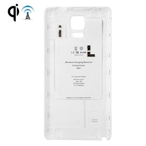 Wireless Charger Receiver with Leather Paste Plastic Back Cover Replacement for Samsung Galaxy Note 4(White)