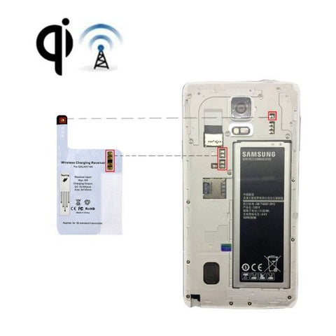 Ultra-thin Wireless Charger Receiver for Samsung Galaxy Note 4, Applies for QI Standard Transmitter