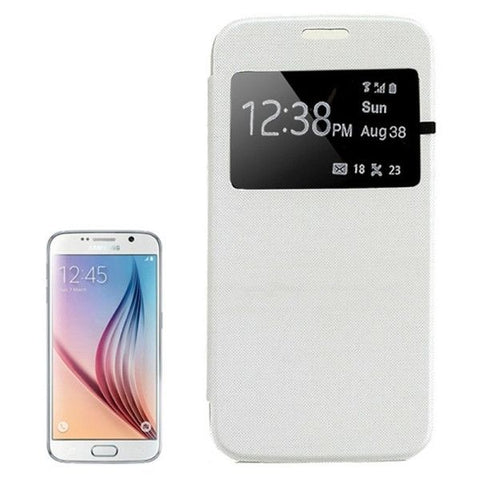 For Samsung Galaxy S6 / G920 Leather Cover Connect Translucence PC Back Shell Protective Case with Caller ID Window (White)