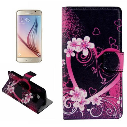 For Samsung Galaxy S6 Plain Weave Horizontal Flip Heart Pattern Leather Case with Holder & Card Slots