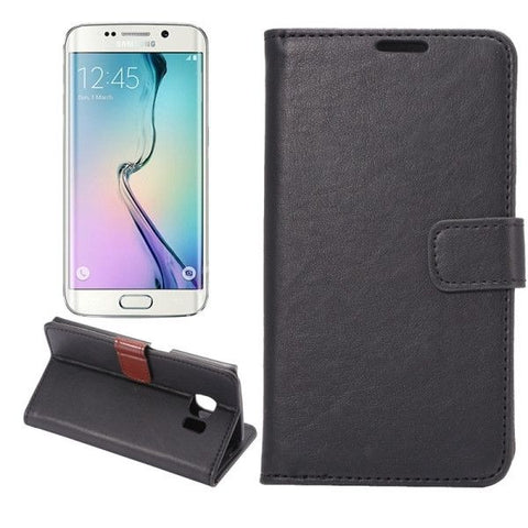 Crazy Horse Texture Magnetic Snap Leather Case with Holder & Card Slots & Wallet for Samsung Galaxy S6 Edge / G925(Black)