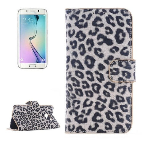 Leopard Texture Horizontal Flip Magnetic Buckle Leather Case with Card Slots & Wallet & Holder for Samsung Galaxy S6 Edge