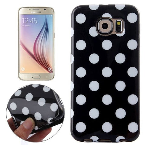For Samsung Galaxy S6 Black and White Polka Dot Pattern Smooth TPU Case (Black)