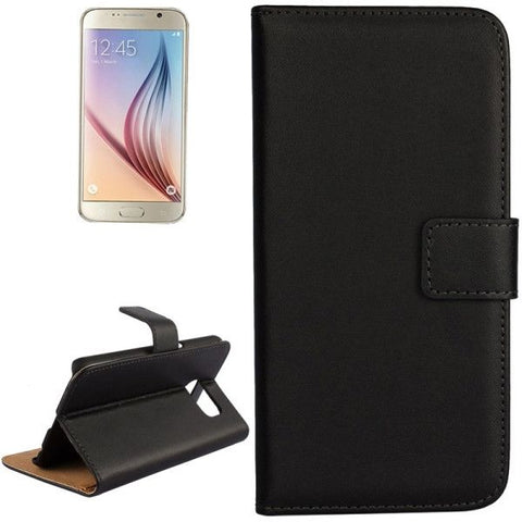 For Samsung Galaxy S6 / G920 Cowhide Split Leather Protective Case with Holder & Card Slots (Black)