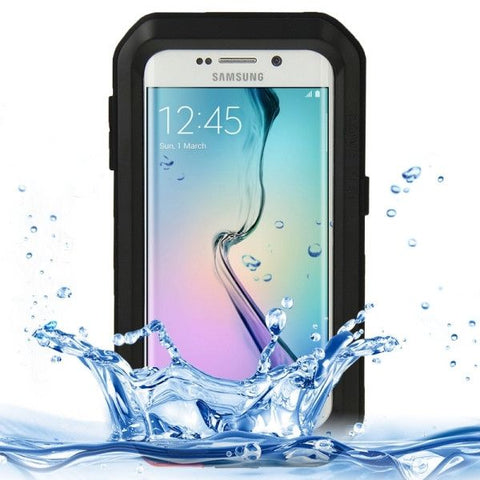 LOVE MEI Metal Ultra-thin Waterproof Dustproof Shockproof Powerful Protective Case for Samsung Galaxy S6 Edge(Black)