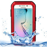 LOVE MEI Metal Ultra-thin Waterproof Dustproof Shockproof Powerful Protective Case for Samsung Galaxy S6 Edge(Red) - Zasttra.com