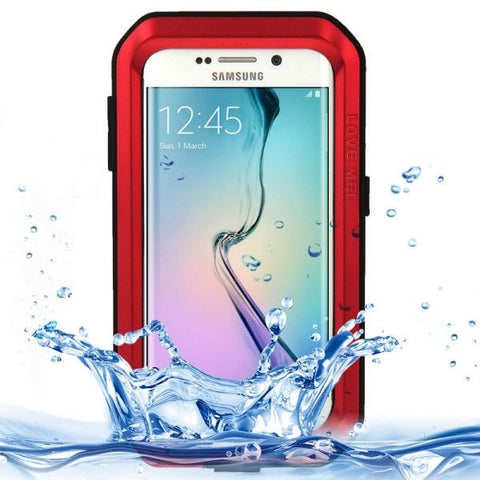 LOVE MEI Metal Ultra-thin Waterproof Dustproof Shockproof Powerful Protective Case for Samsung Galaxy S6 Edge(Red)