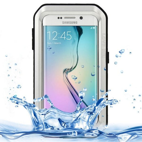 LOVE MEI Metal Ultra-thin Waterproof Dustproof Shockproof Powerful Protective Case for Samsung Galaxy S6 Edge(Silver)