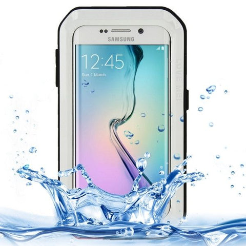 LOVE MEI Metal Ultra-thin Waterproof Dustproof Shockproof Powerful Protective Case for Samsung Galaxy S6 Edge(White)