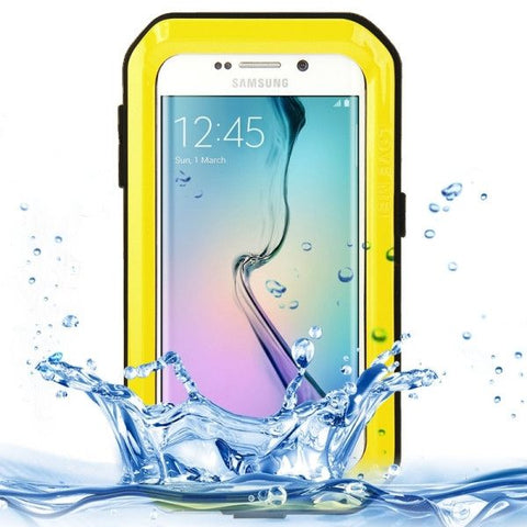 LOVE MEI Metal Ultra-thin Waterproof Dustproof Shockproof Powerful Protective Case for Samsung Galaxy S6 Edge(Yellow)