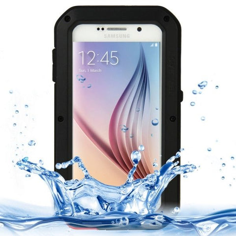 LOVE MEI for Samsung Galaxy S6 / G920 Metal Ultra-thin Waterproof Dustproof Shockproof Powerful Protective Case (Black)