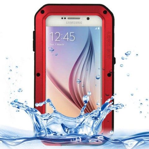LOVE MEI Metal Ultra-thin Waterproof Dustproof Shockproof Powerful Protective Case for Samsung Galaxy S6 / G920(Red)