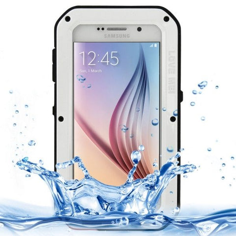 LOVE MEI Metal Ultra-thin Waterproof Dustproof Shockproof Powerful Protective Case for Samsung Galaxy S6 / G920(White)