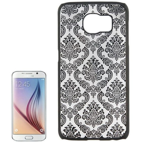 For Samsung Galaxy S6 / G920 Embossed Flowers Pattern Protective Hard Case (Black)