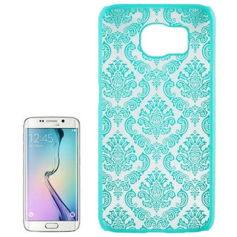 For Samsung Galaxy S6 / G920 Embossed Flowers Pattern Protective Hard Case (Turquoise)