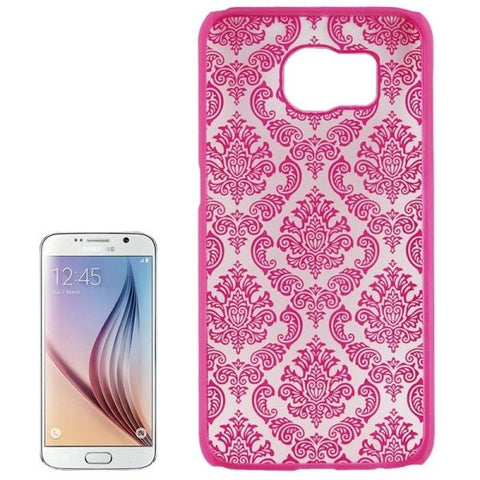 For Samsung Galaxy S6 / G920 Embossed Flowers Pattern Protective Hard Case (Magenta)