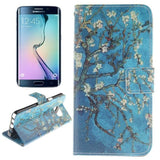 Blue Background Apricot Blossom Tree Pattern Double Print Horizontal Flip Leather Case with Holder & Card Slots & Wallet for Samsung Galaxy Note 5 Edge , Small Quantity Recommended Before Samsung Galaxy Note 5 Edge Launching - Zasttra.com