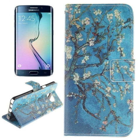 Blue Background Apricot Blossom Tree Pattern Double Print Horizontal Flip Leather Case with Holder & Card Slots & Wallet for Samsung Galaxy Note 5 Edge , Small Quantity Recommended Before Samsung Galaxy Note 5 Edge Launching