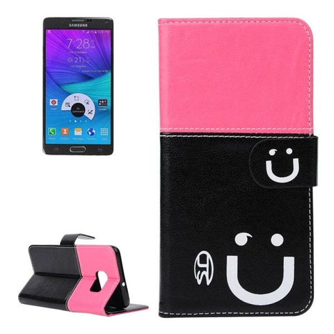 Smile Pattern Horizontal Flip Leather Case with Card Slots & Wallet & Holder for Samsung Galaxy Note 5 Edge, Small Quantity Recommended Before Samsung Galaxy Note 5 Edge Launching (Black + Magenta)
