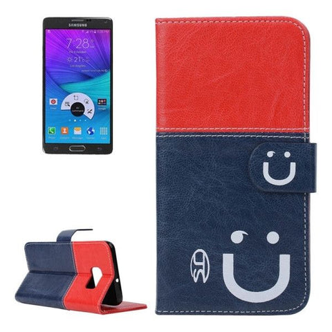 Smile Pattern Horizontal Flip Leather Case with Card Slots & Wallet & Holder for Samsung Galaxy Note 5 Edge, Small Quantity Recommended Before Samsung Galaxy Note 5 Edge Launching (Dark Blue + Red)