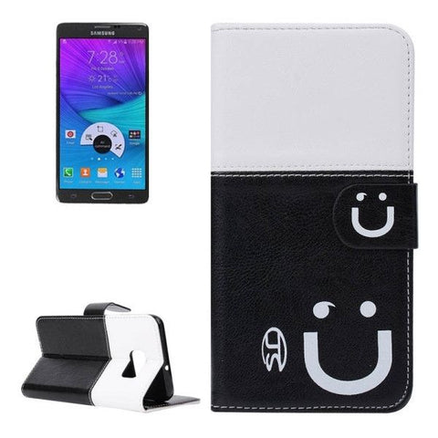 Smile Pattern Horizontal Flip Leather Case with Card Slots & Wallet & Holder for Samsung Galaxy Note 5 Edge, Small Quantity Recommended Before Samsung Galaxy Note 5 Edge Launching (Black + White)