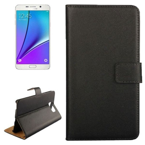 Cowhide Texture Horizontal Flip Genuine leather Case with Card Slot & Holder for Samsung Galaxy Note 5 / N9200(Black)