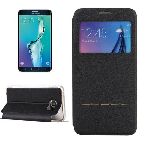 Solid Color Horizontal Flip Leather Case with Holder & Caller ID Window for Samsung Galaxy S6 Edge+ / G928(Black)