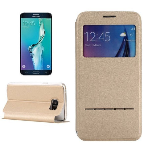 Solid Color Horizontal Flip Leather Case with Holder & Caller ID Window for Samsung Galaxy S6 Edge+ / G928(Gold)