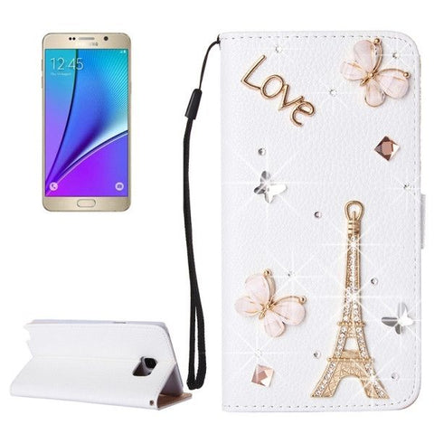 3D Tower Pattern Diamond Encrusted Horizontal Flip Leather Case with Holder & Card Slots & Lanyard for Samsung Galaxy Note 5 / N920