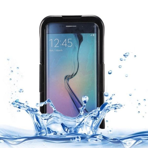 IP x 8 PVC + Silicone Transparent Universal Waterproof Protective Case with Lanyard for Samsung Galaxy S6 Edge+ / G928(Black)