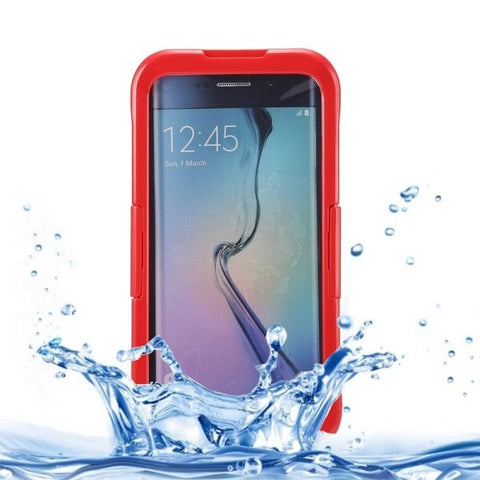 IP x 8 PVC + Silicone Transparent Universal Waterproof Protective Case with Lanyard for Samsung Galaxy S6 Edge+ / G928(Red)