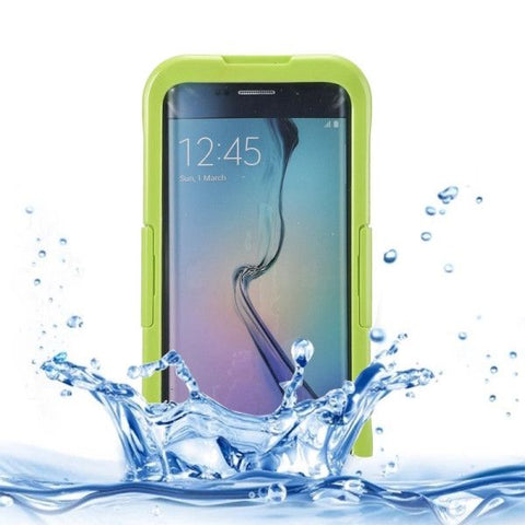 IP x 8 PVC + Silicone Transparent Universal Waterproof Protective Case with Lanyard for Samsung Galaxy S6 Edge+ / G928(Fluorescent Green)