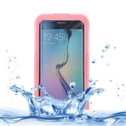 IP x 8 PVC + Silicone Transparent Universal Waterproof Protective Case with Lanyard for Samsung Galaxy S6 Edge+ / G928(Pink)