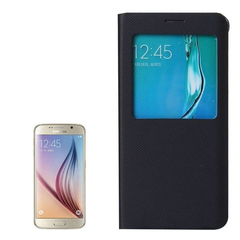 Litchi Texture Horizontal Flip Leather Case with Sleep / Wake-up Function for Samsung Galaxy S6 Edge+ / G928(Black)