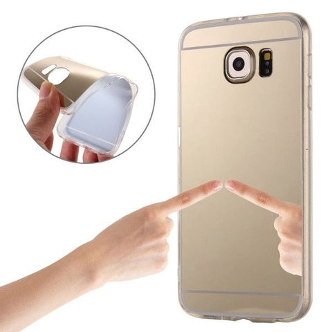 For Samsung Galaxy S6 Edge / G925 Electroplating Mirror TPU Protective Case (Gold)