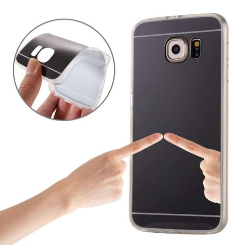 Electroplating Mirror TPU Protective Case for Samsung Galaxy S6 Edge+ / G928(Black)