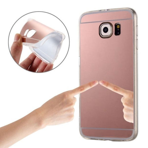 Electroplating Mirror TPU Protective Case for Samsung Galaxy S6 Edge+ / G928(Pink)