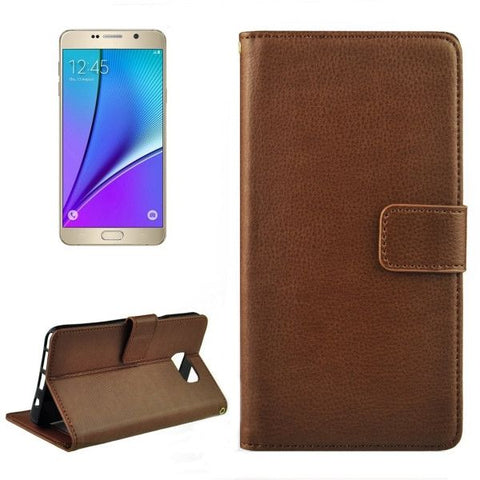 Litchi Texture Flip Leather Case with Holder & Card Slots & Wallet for Samsung Galalxy Note 5 / N920(Coffee)