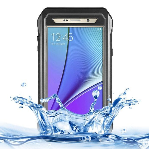 RIYO Professional and Powerful IP68 Waterproof SnowProof Shockproof Dustproof PC + TPE Protective Case with Tempered Glass Front Film Cover & Holder & Sling & Guitar Pick for Samsung Galaxy Note 5 / N920(Black)